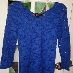 PECK AND PECK Blue Strechy Lace Top Size S